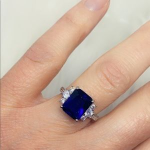 Sapphire Blue Radiant Cut Sterling Silver Ring